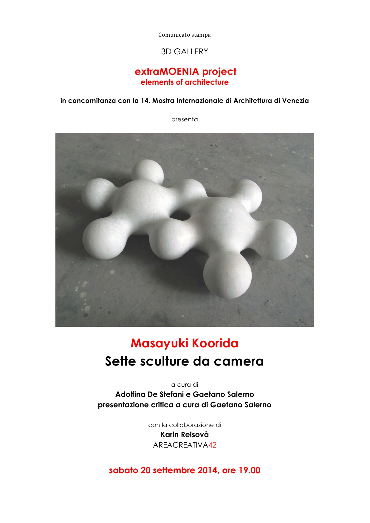 Venice: Masayuki Koorida, sette sculture da camera - 3D Gallery in Venice with the collaboration of Areacreativa42